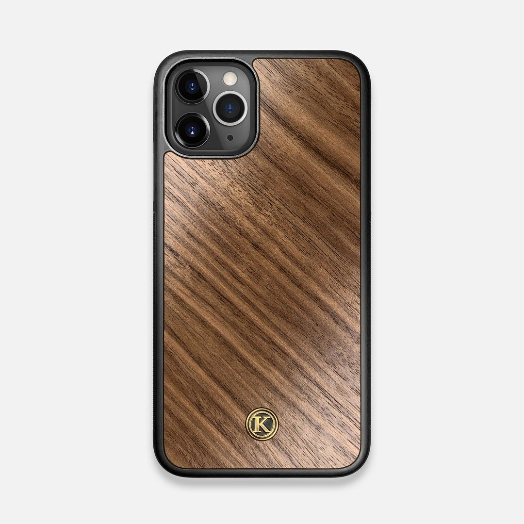 Front view of the Walnut Pure Minimalist Wood iPhone 11 Pro Case by Keyway Designs