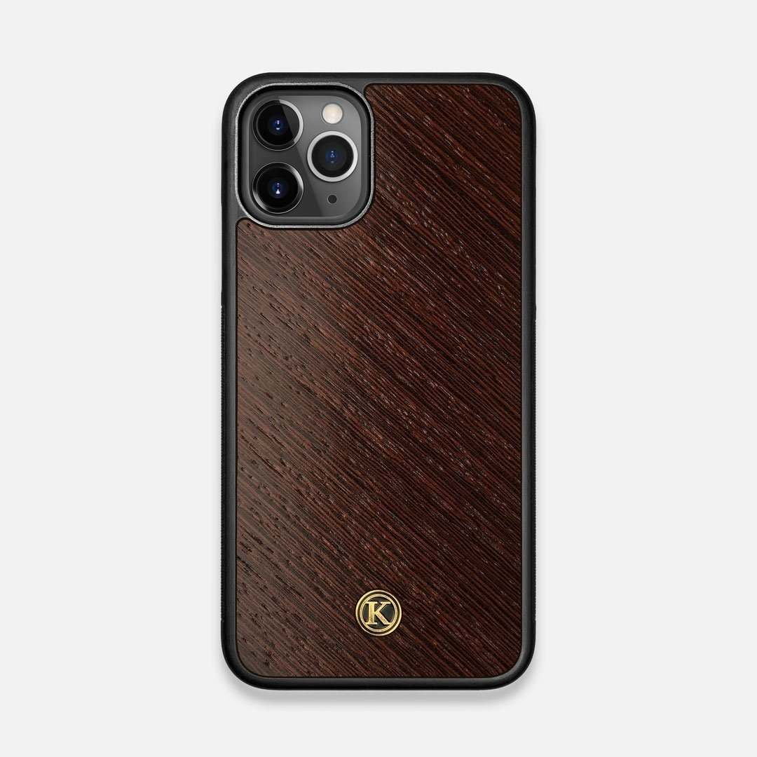 Front view of the Wenge Pure Minimalist Wood iPhone 11 Pro Case by Keyway Designs