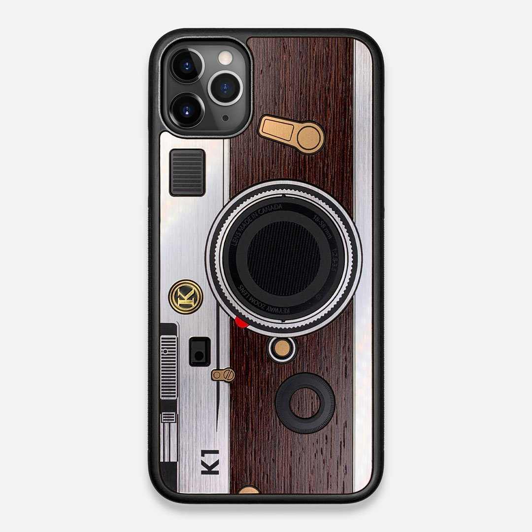 Front view of the classic Camera, silver metallic and wood iPhone 11 Pro Max Case by Keyway Designs