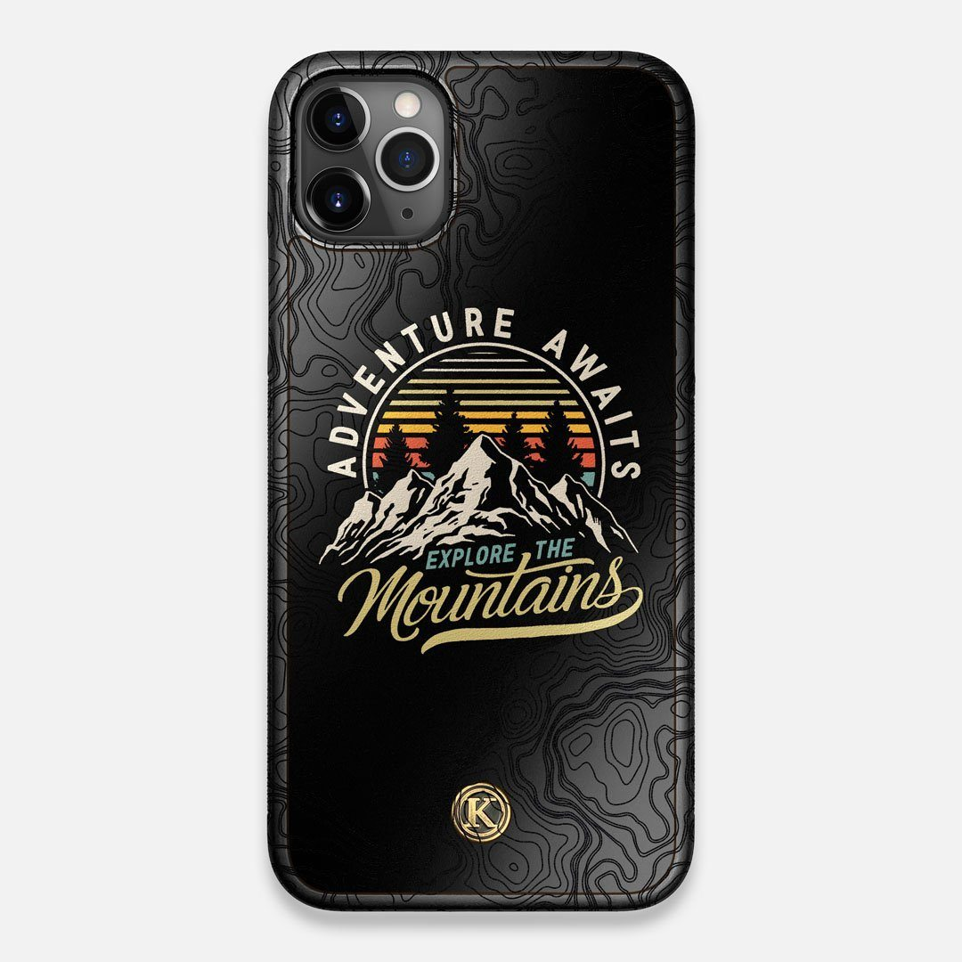 Front view of the crisp topographical map with Explorer badge printed on matte black impact acrylic iPhone 11 Pro Max Case by Keyway Designs