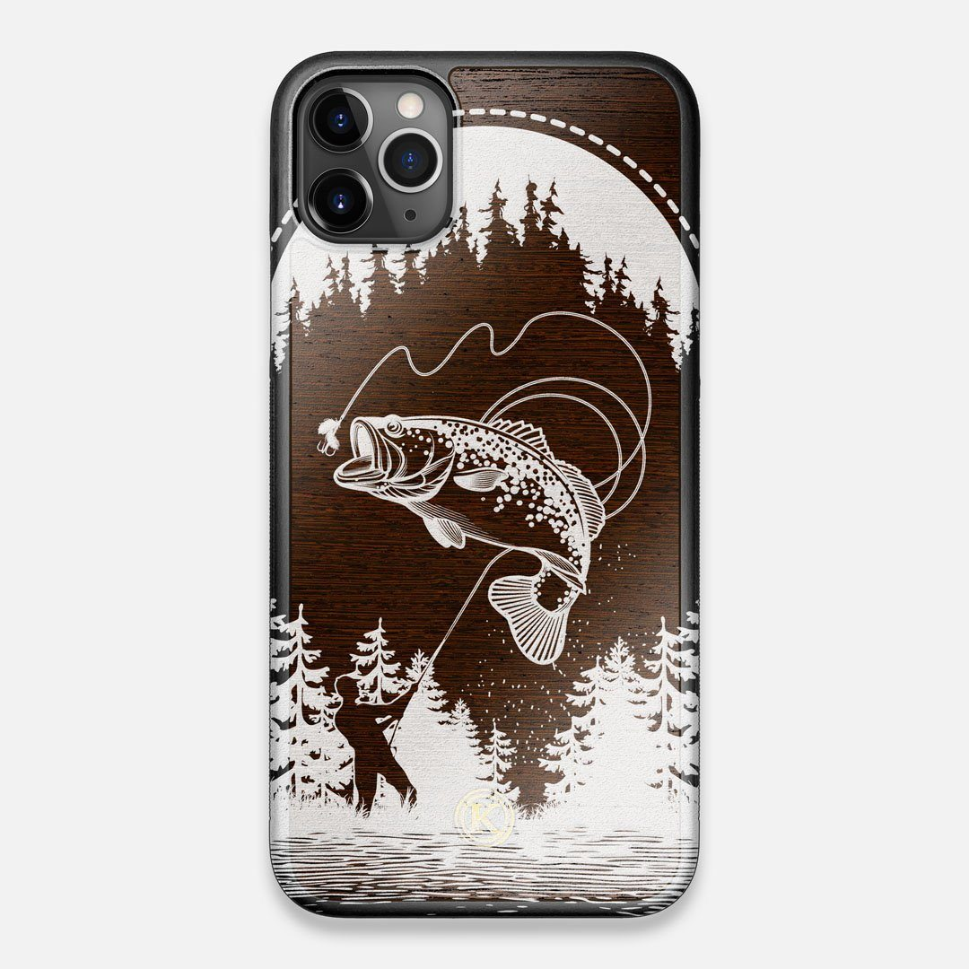 Front view of the high-contrast spotted bass printed Wenge Wood iPhone 11 Pro Max Case by Keyway Designs