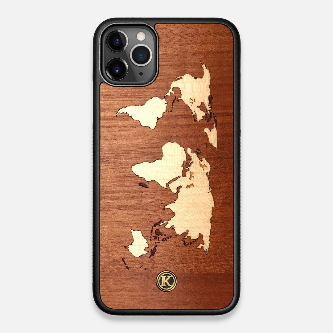 Front view of the Atlas Sapele Wood iPhone 11 Pro Max Case by Keyway Designs