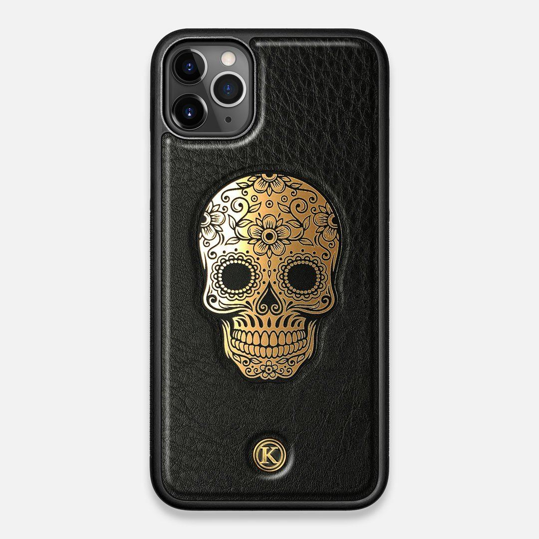 Front view of the Auric Black Leather iPhone 11 Pro Max Case by Keyway Designs