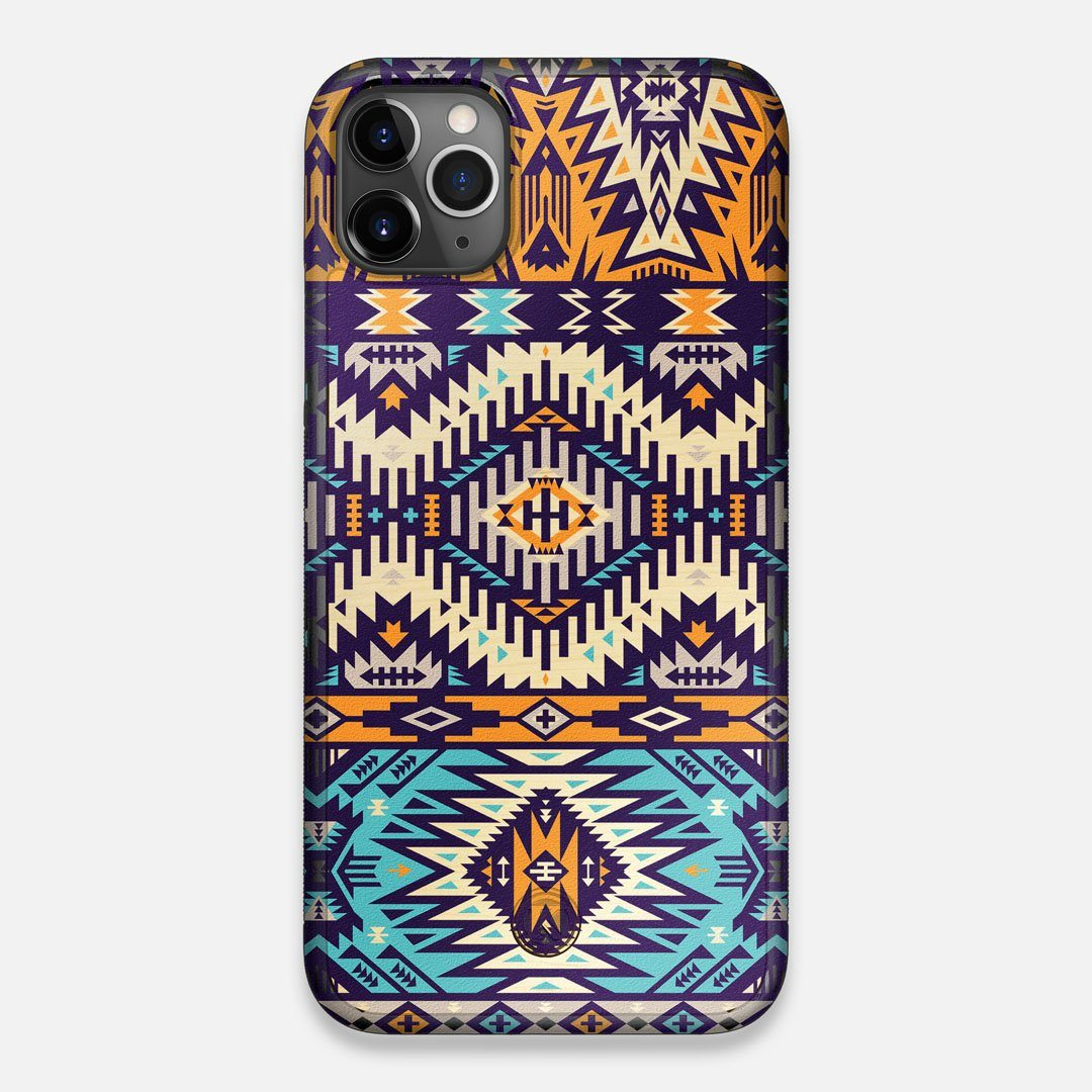 Front view of the vibrant Aztec printed Maple Wood iPhone 11 Pro Max Case by Keyway Designs