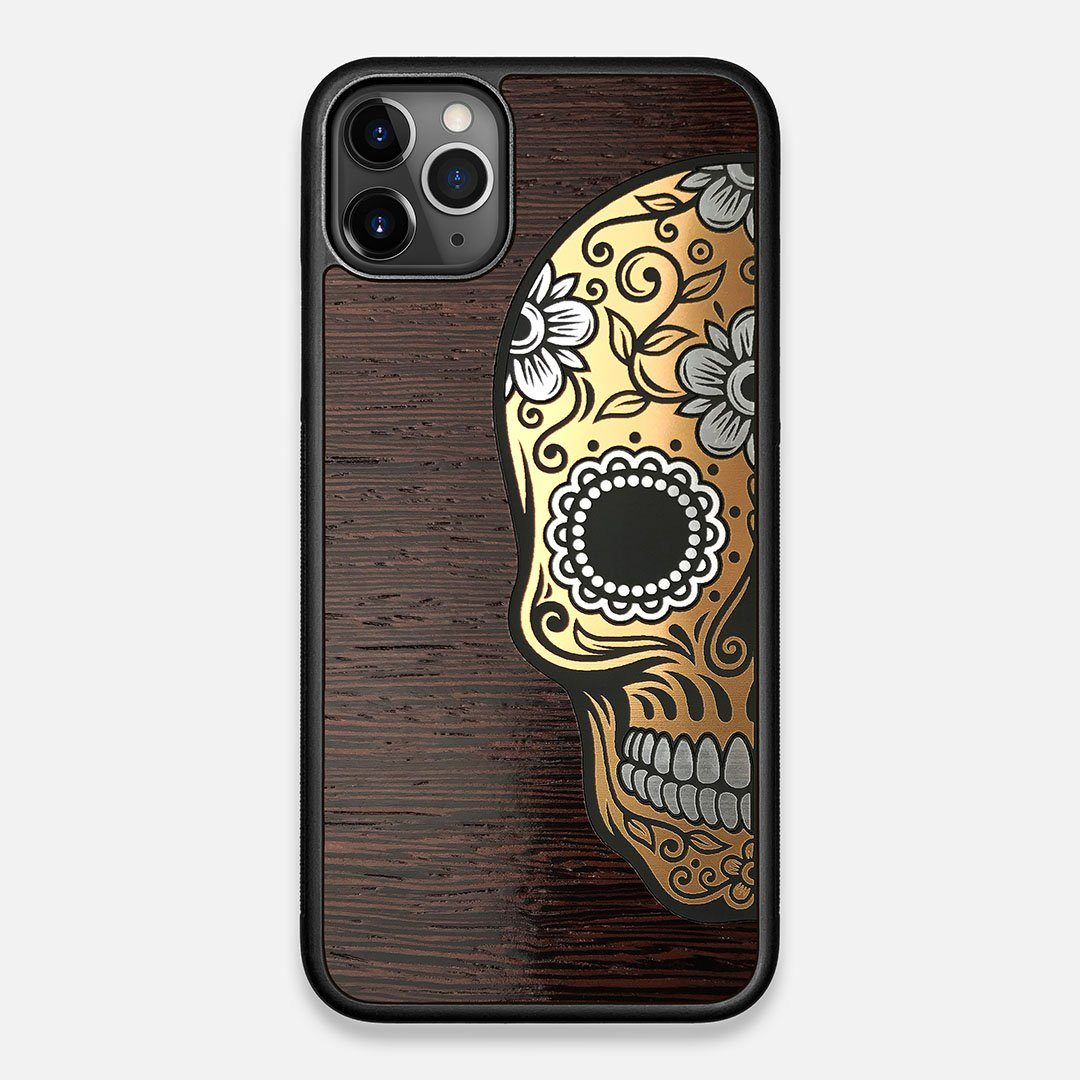 Front view of the Calavera Wood Sugar Skull Wood iPhone 11 Pro Max Case by Keyway Designs