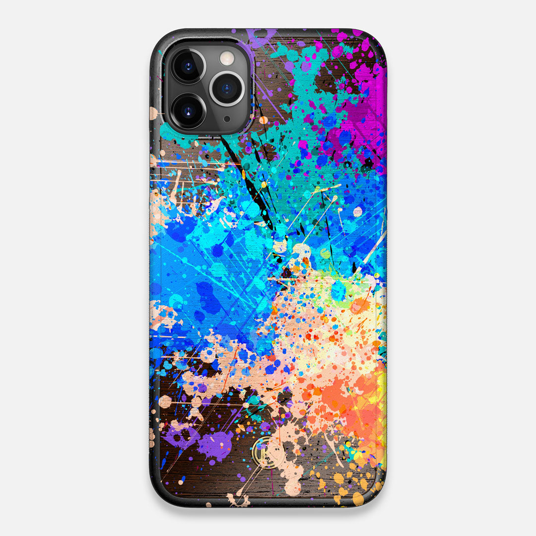 Front view of the realistic paint splatter 'Chroma' printed Wenge Wood iPhone 11 Pro Max Case by Keyway Designs