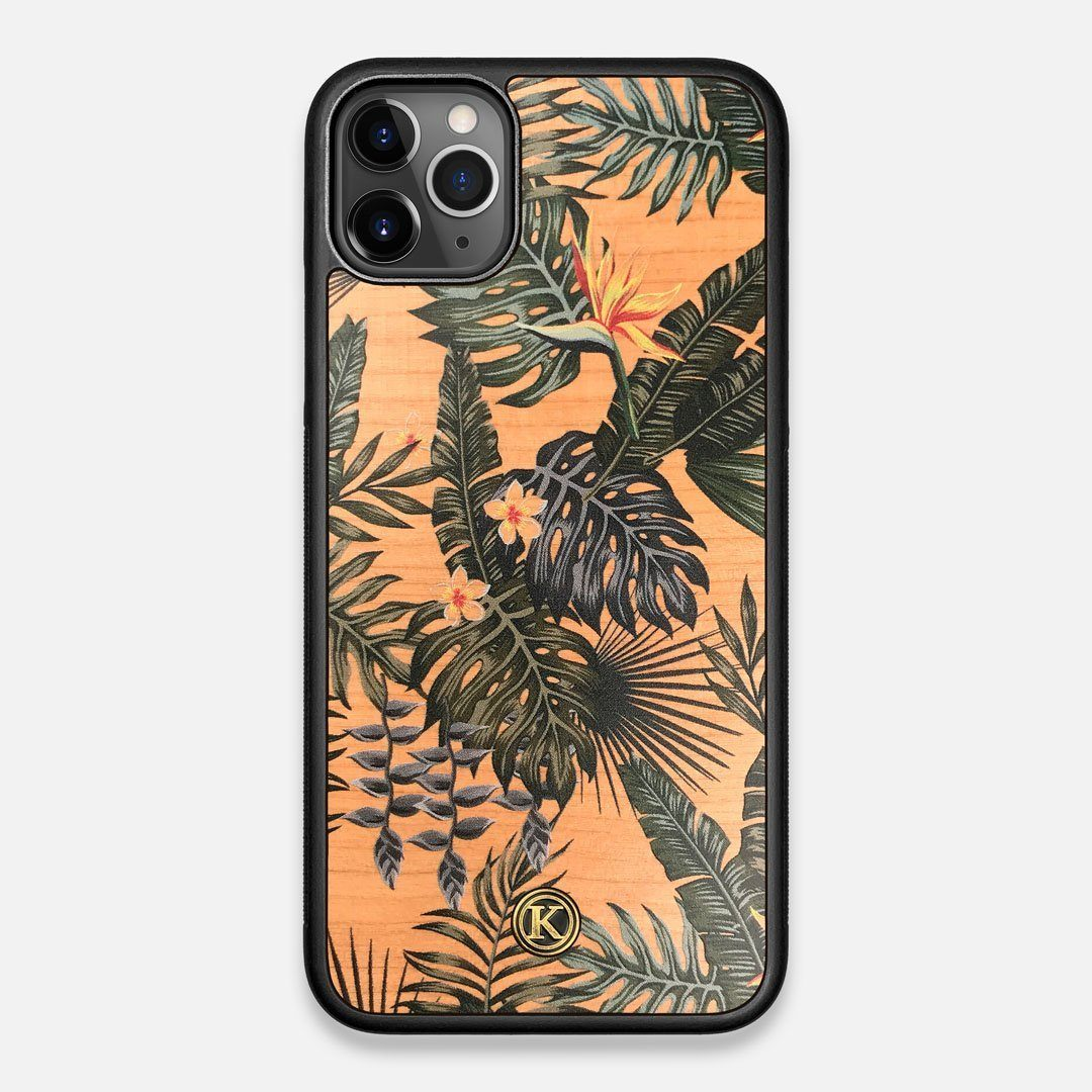 Front view of the Floral tropical leaf printed Cherry Wood iPhone 11 Pro Max Case by Keyway Designs