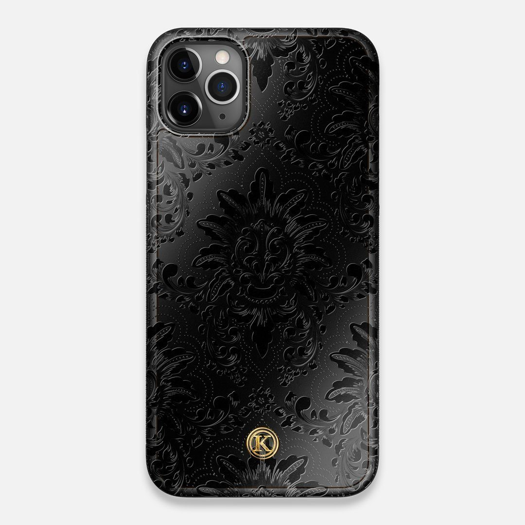 Front view of the detailed gloss Damask pattern printed on matte black impact acrylic iPhone 11 Pro Max Case by Keyway Designs