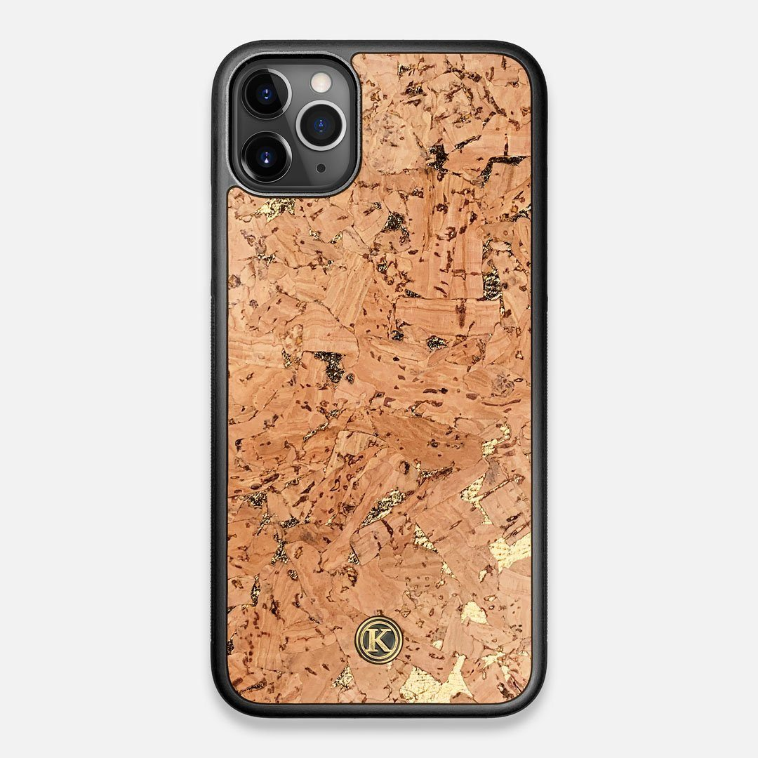 Front view of the gold fleck natural cork iPhone 11 Pro Max Case by Keyway Designs