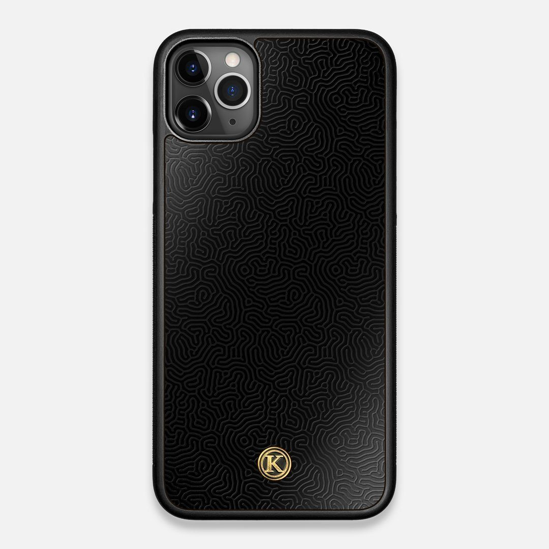 Front view of the highly detailed organic growth engraving on matte black impact acrylic iPhone 11 Pro Max Case by Keyway Designs
