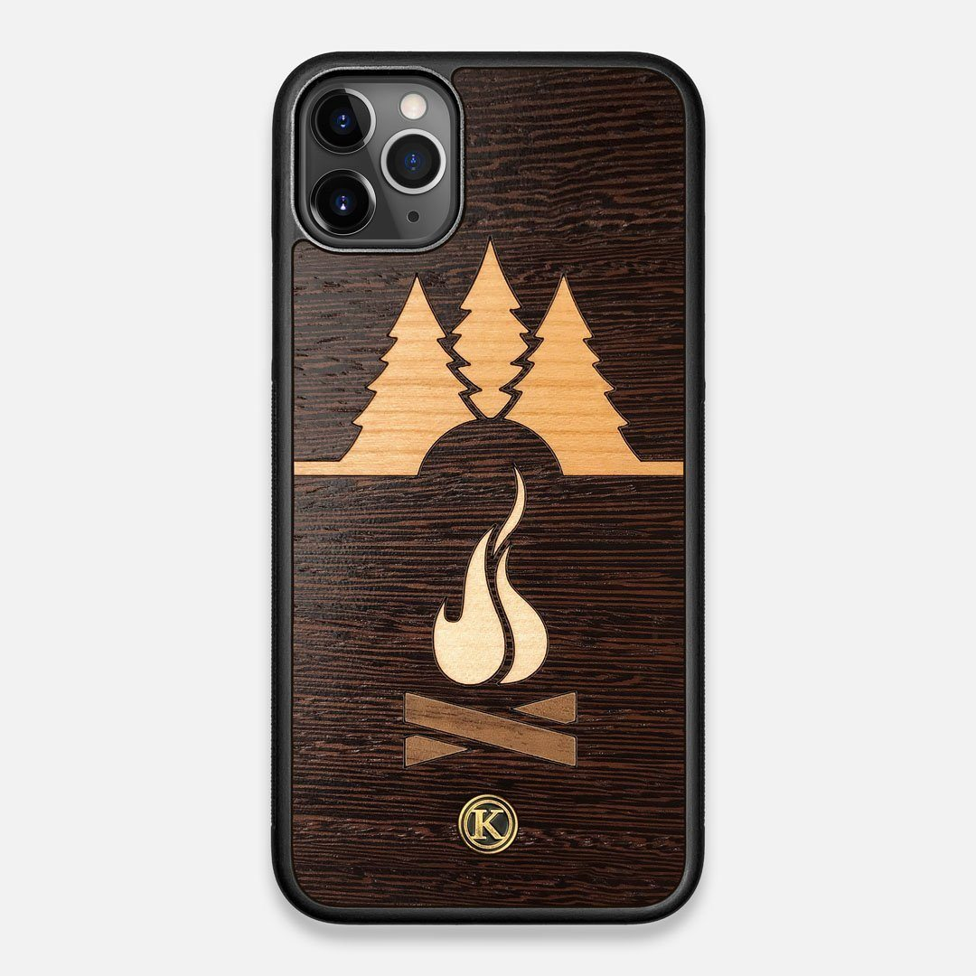 Front view of the Nomad Campsite Wood iPhone 11 Pro Max Case by Keyway Designs