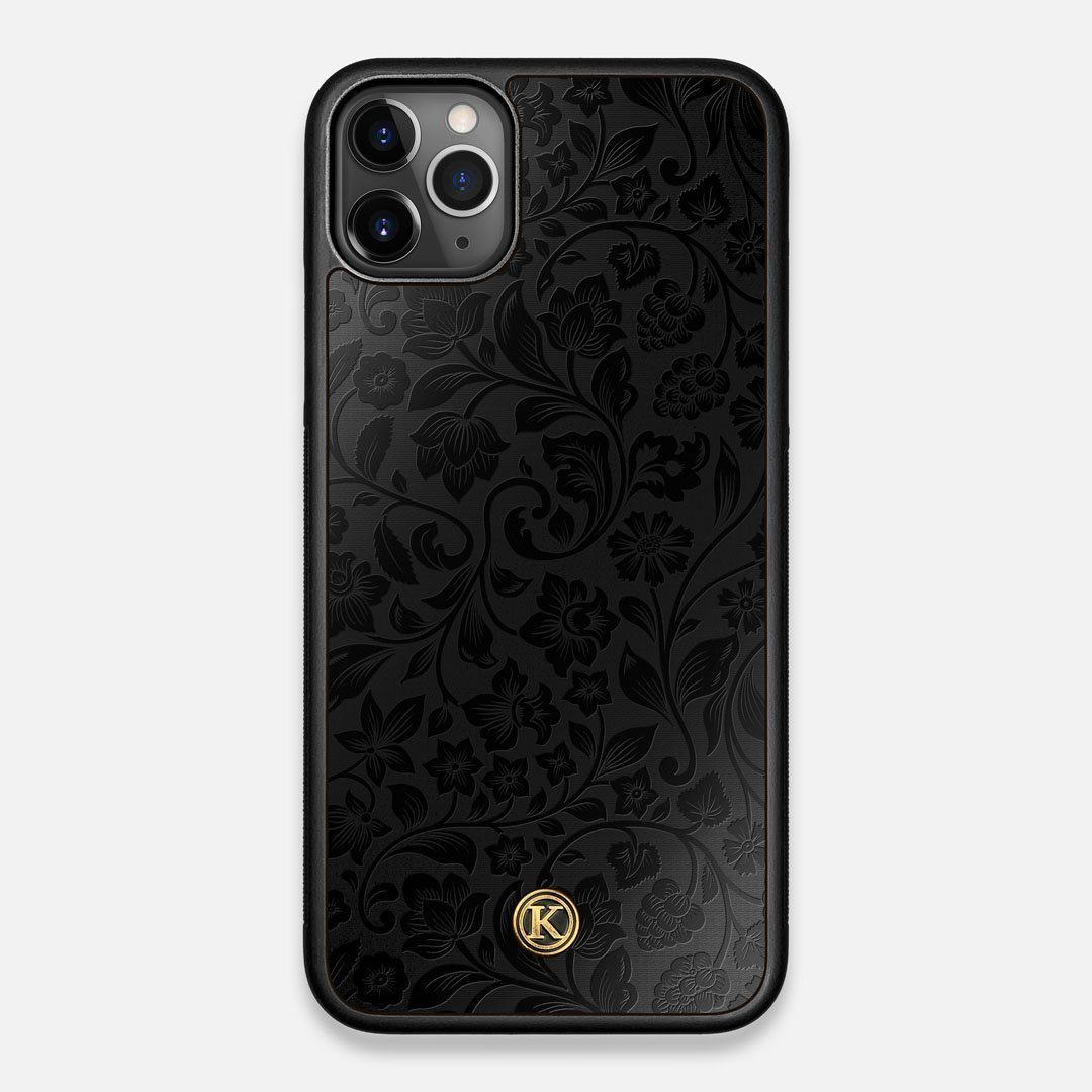 Front view of the highly detailed midnight floral engraving on matte black impact acrylic iPhone 11 Pro Max Case by Keyway Designs