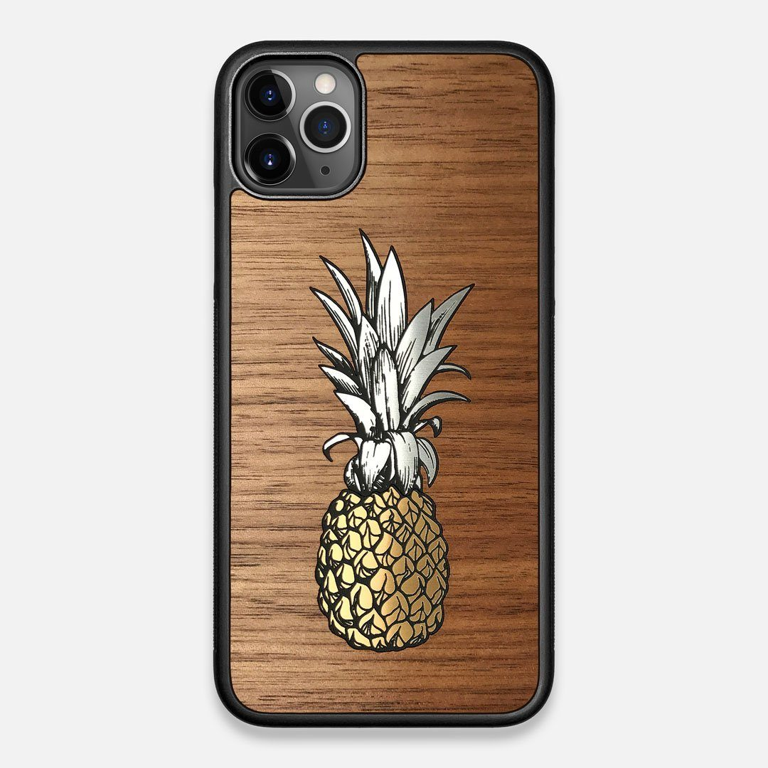 Front view of the Pineapple Walnut Wood iPhone 11 Pro Max Case by Keyway Designs