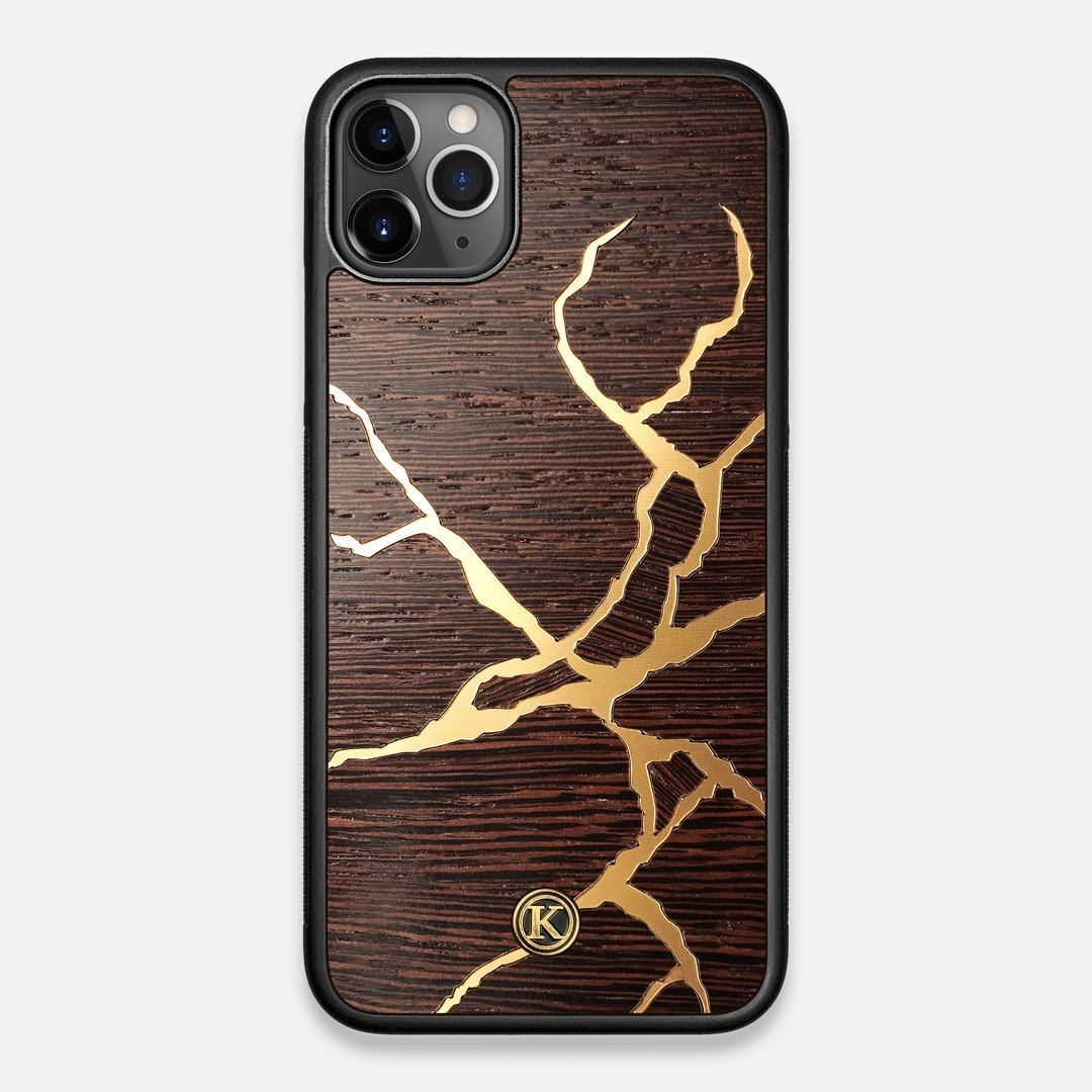 Front view of the Kintsugi inspired Gold and Wenge Wood iPhone 11 Pro Max Case by Keyway Designs