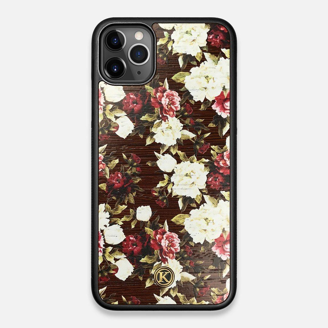 Front view of the Rose white and red rose printed Wenge Wood iPhone 11 Pro Max Case by Keyway Designs