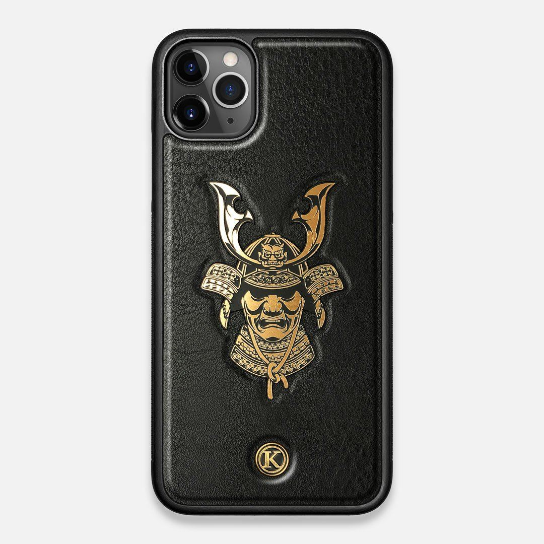 Front view of the Samurai Black Leather iPhone 11 Pro Max Case by Keyway Designs