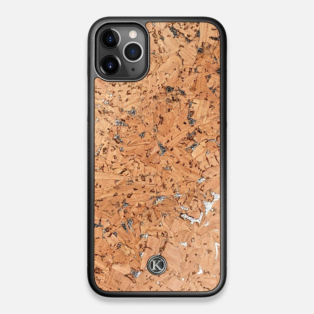 Front view of the silver fleck natural cork iPhone 11 Pro Max Case by Keyway Designs