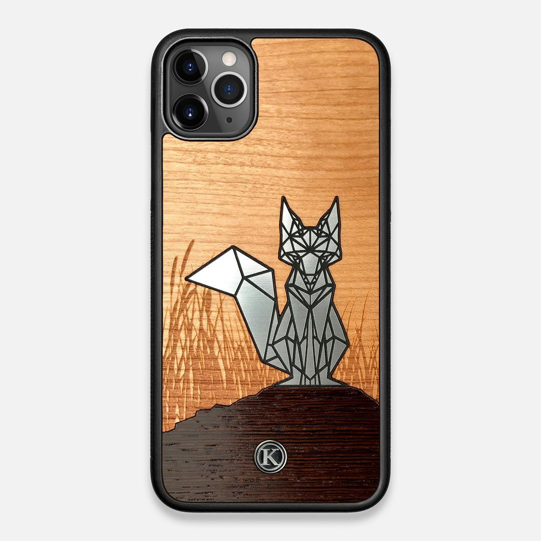 Front view of the Silver Fox & Cherry Wood iPhone 11 Pro Max Case by Keyway Designs