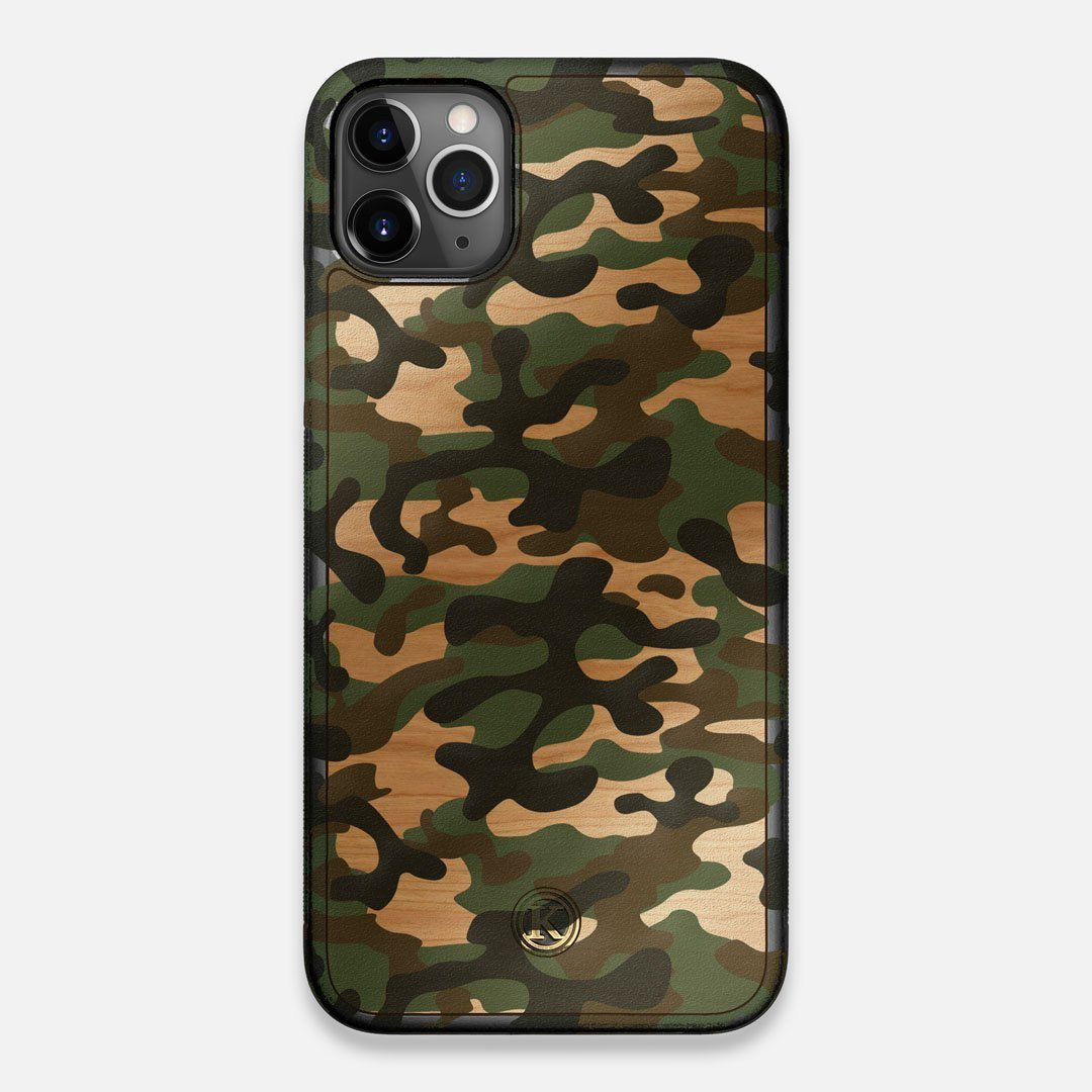 Front view of the stealth Paratrooper camo printed Wenge Wood iPhone 11 Pro Max Case by Keyway Designs