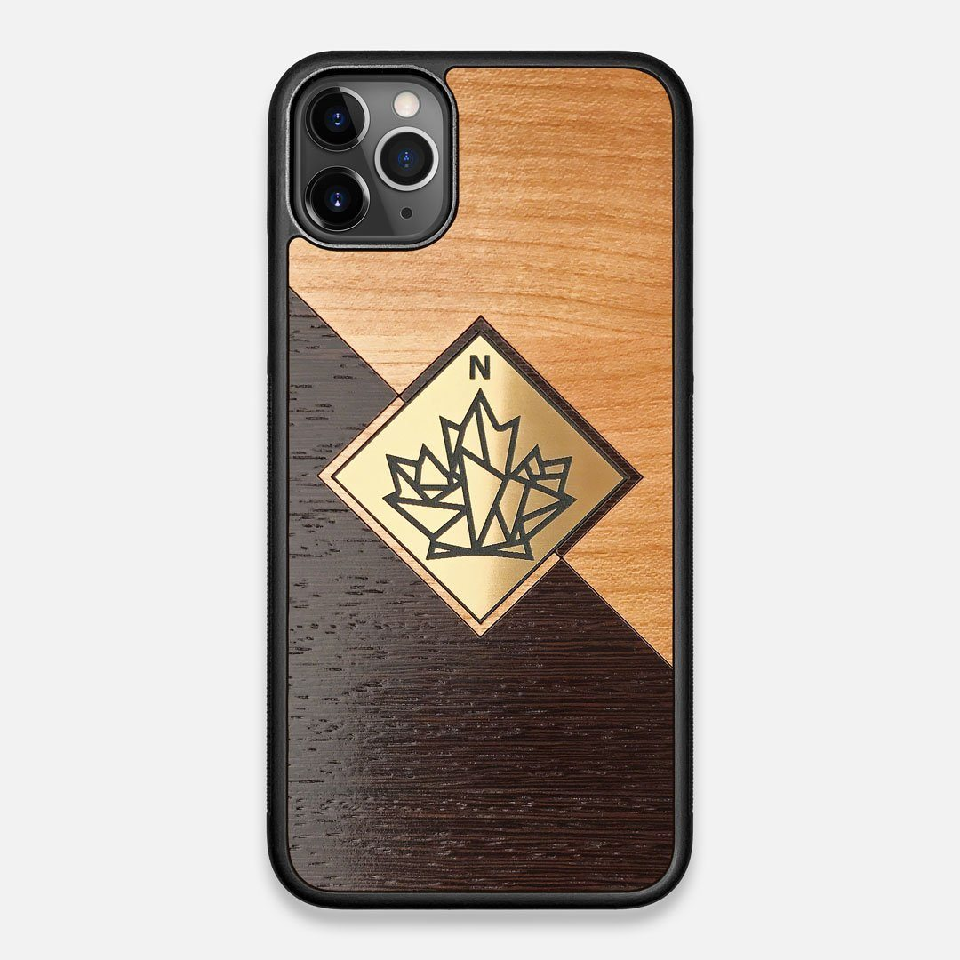 Front view of the True North by Northern Philosophy Cherry & Wenge Wood iPhone 11 Pro Max Case by Keyway Designs