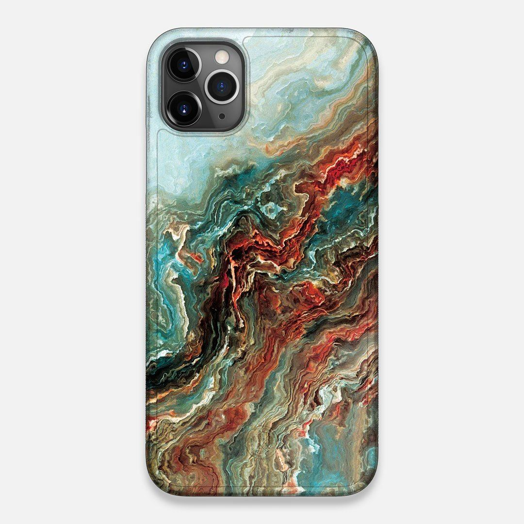 Front view of the vibrant and rich Red & Green flowing marble pattern printed Wenge Wood iPhone 11 Pro Max Case by Keyway Designs