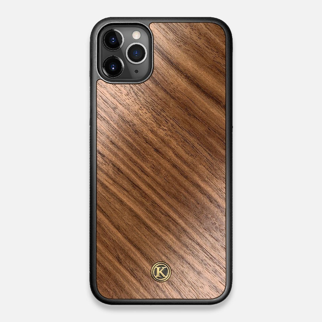 Front view of the Walnut Pure Minimalist Wood iPhone 11 Pro Max Case by Keyway Designs