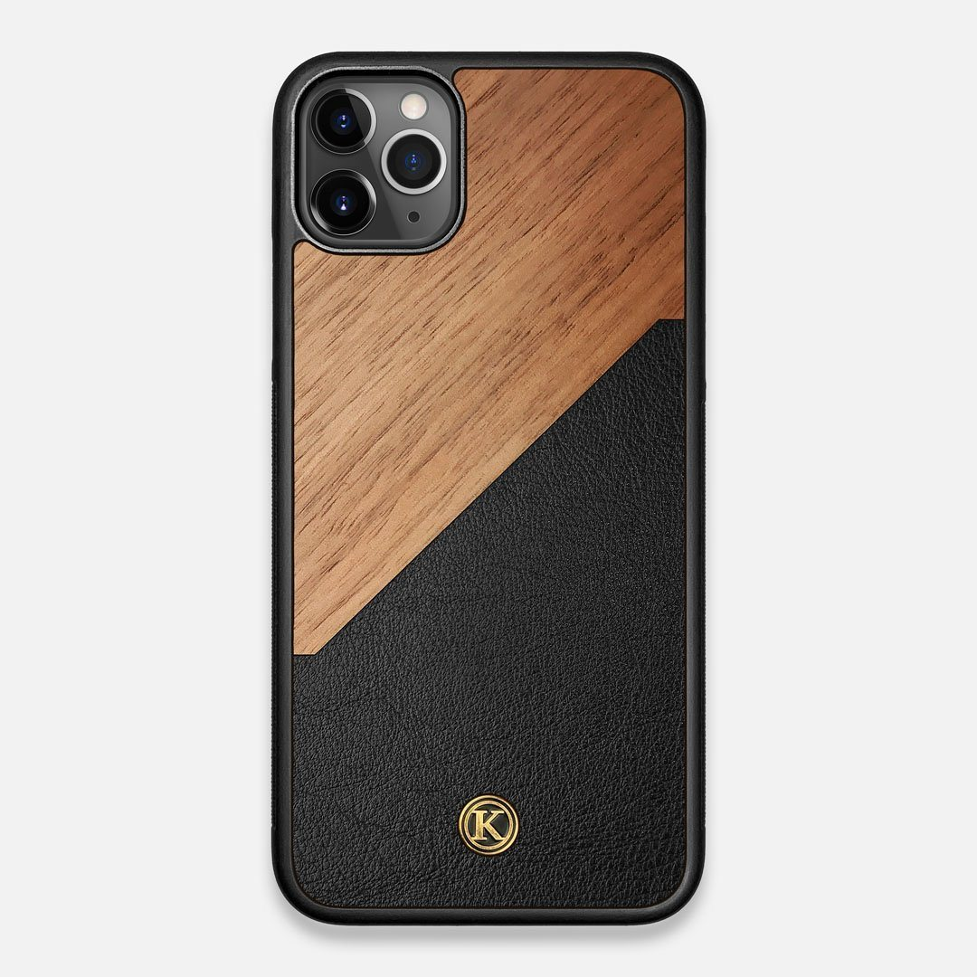 Front view of the Walnut Rift Elegant Wood & Leather iPhone 11 Pro Max Case by Keyway Designs