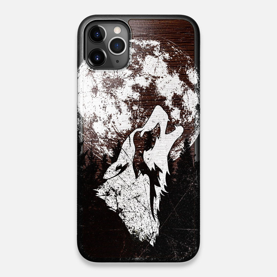 Front view of the high-contrast howling wolf on a full moon printed on a Wenge Wood iPhone 11 Pro Max Case by Keyway Designs