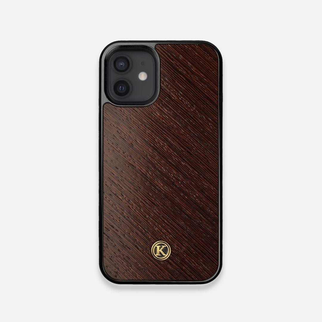 Front view of the Wenge Pure Minimalist Wood iPhone 12 Mini Case by Keyway Designs