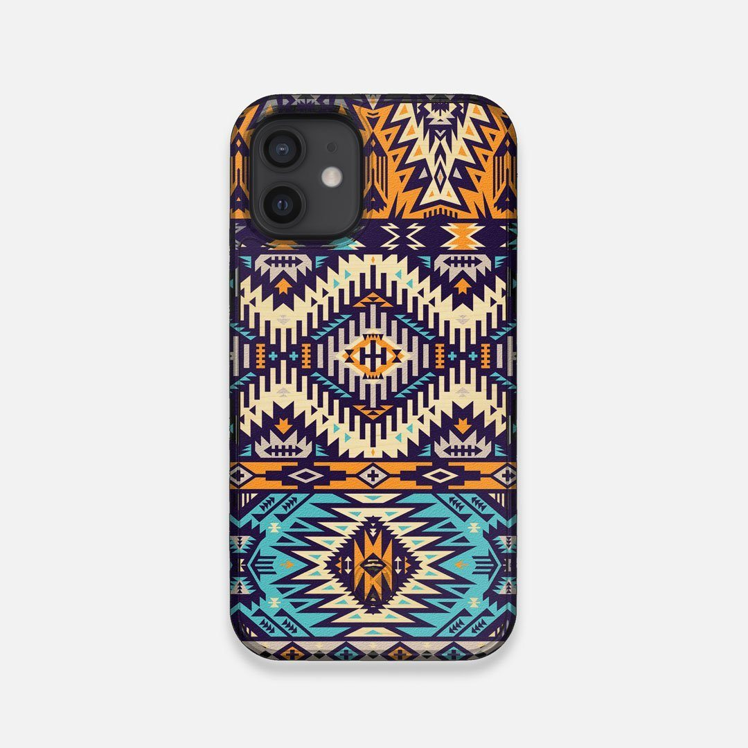 Front view of the vibrant Aztec printed Maple Wood iPhone 12 Mini Case by Keyway Designs