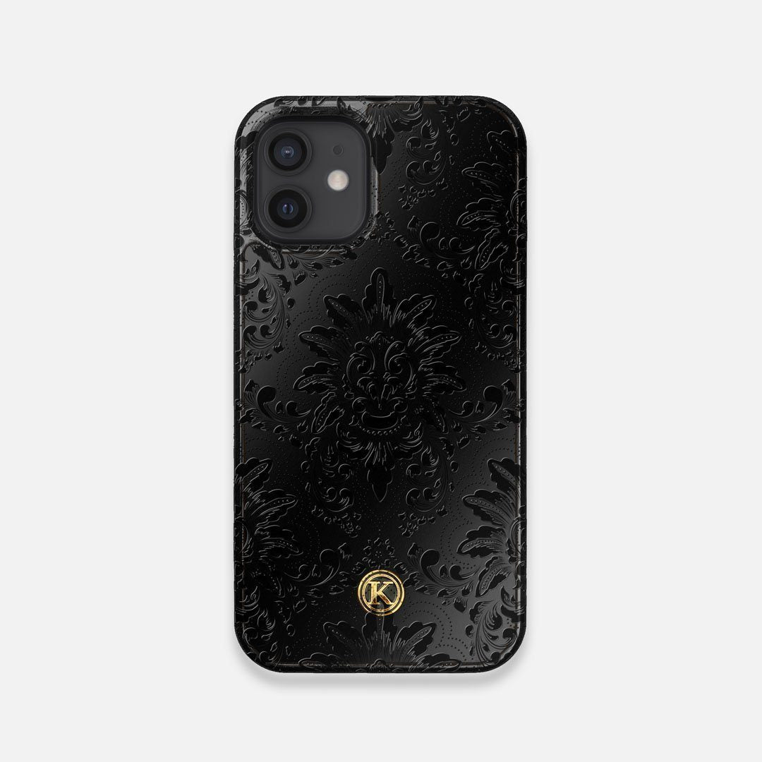 Front view of the detailed gloss Damask pattern printed on matte black impact acrylic iPhone 12 Mini Case by Keyway Designs