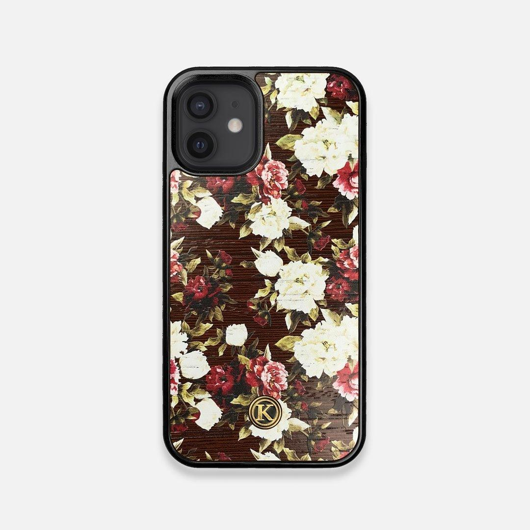 Front view of the Rose white and red rose printed Wenge Wood iPhone 12 Mini Case by Keyway Designs