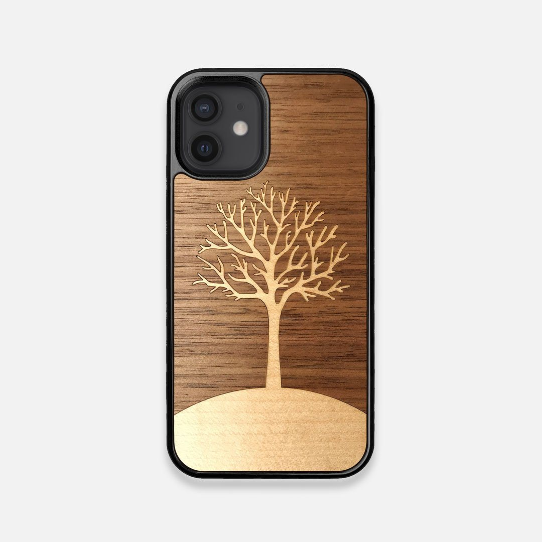 Front view of the Tree Of Life Walnut Wood iPhone 12 Mini Case by Keyway Designs