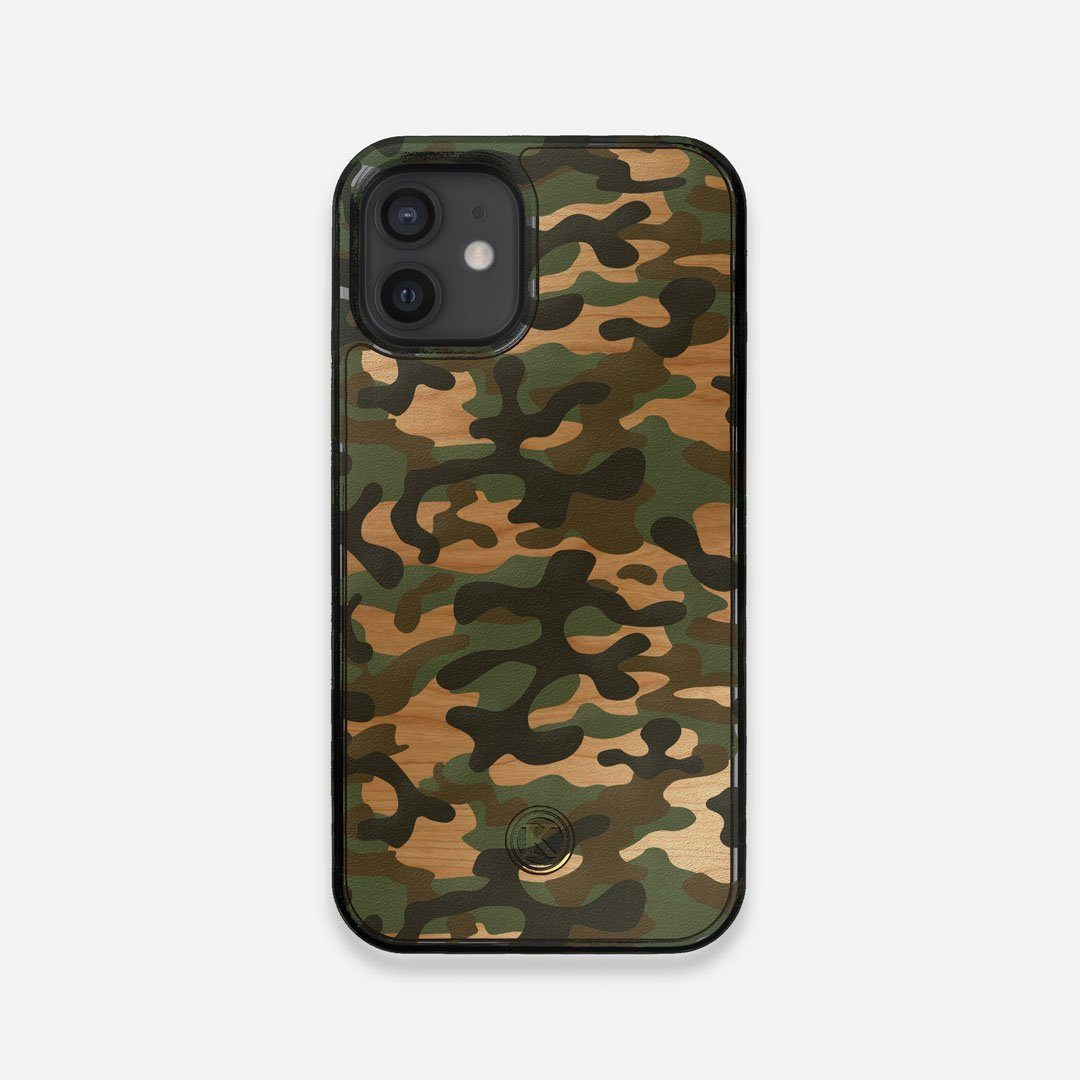 Front view of the stealth Paratrooper camo printed Wenge Wood iPhone 12 Mini Case by Keyway Designs