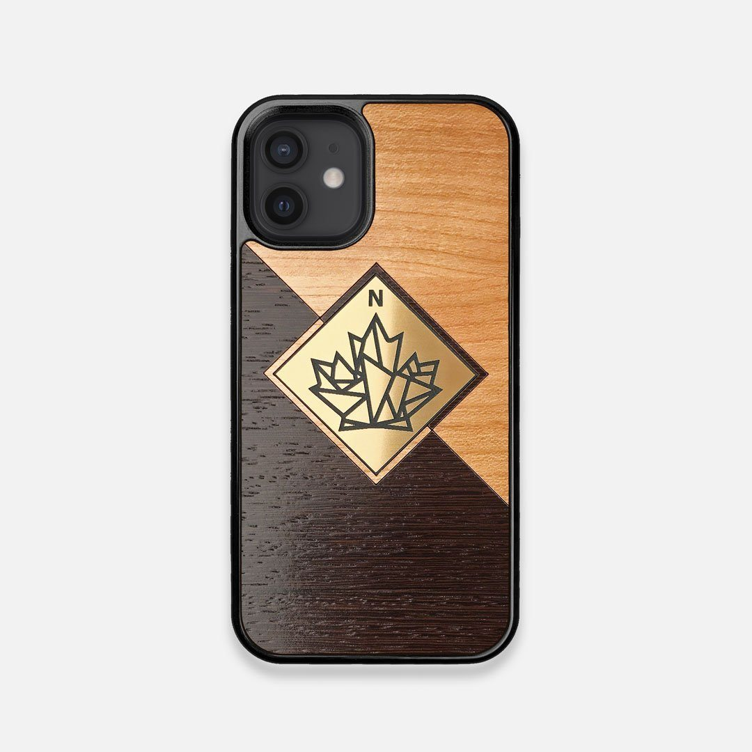 Front view of the True North by Northern Philosophy Cherry & Wenge Wood iPhone 12 Mini Case by Keyway Designs