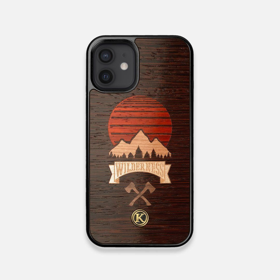 Front view of the Wilderness Wenge Wood iPhone 12 Mini Case by Keyway Designs