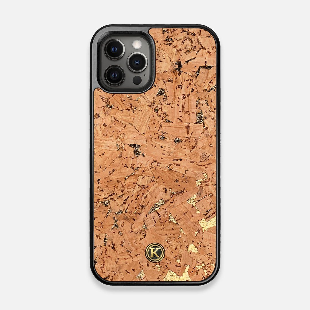Front view of the gold fleck natural cork iPhone 12/12 Pro Case by Keyway Designs