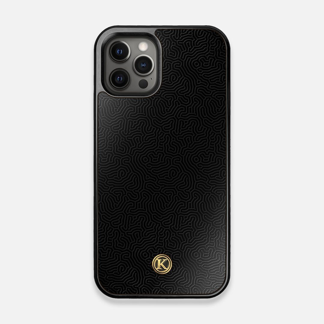 Front view of the highly detailed organic growth engraving on matte black impact acrylic iPhone 12/12 Pro Case by Keyway Designs