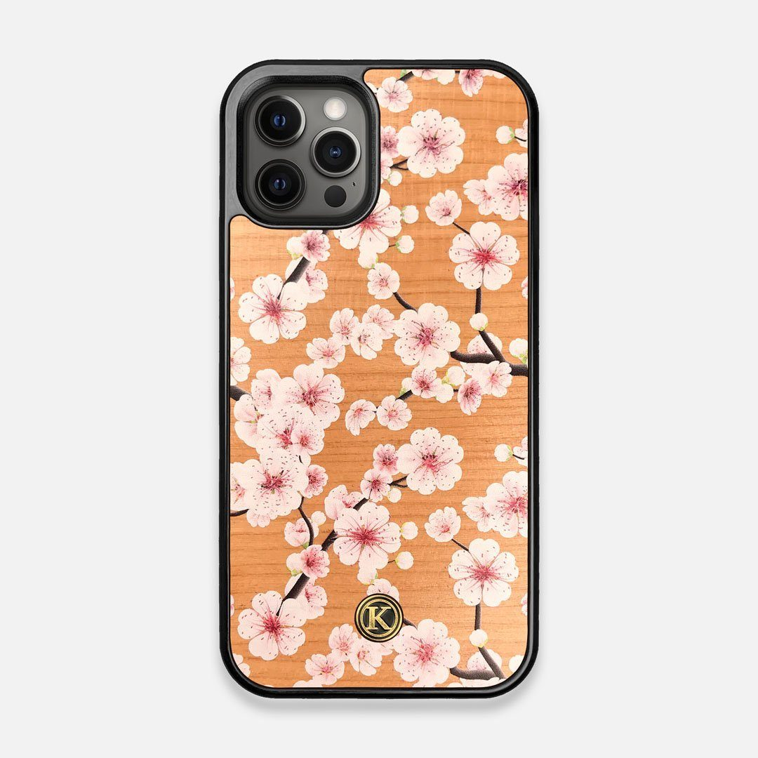 Front view of the Sakura Printed Cherry-blossom Cherry Wood iPhone 12/12 Pro Case by Keyway Designs