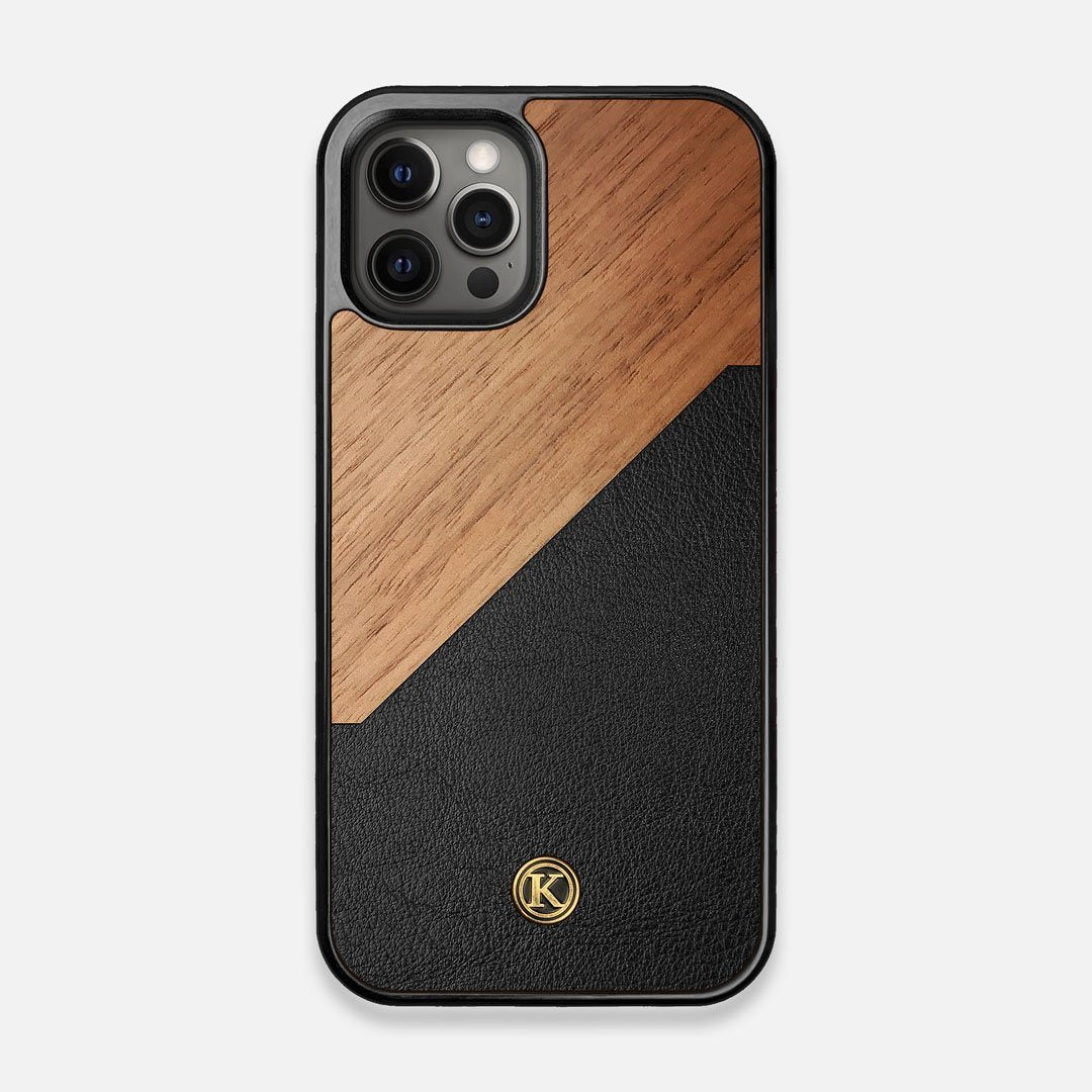 Front view of the Walnut Rift Elegant Wood & Leather iPhone 12/12 Pro Case by Keyway Designs