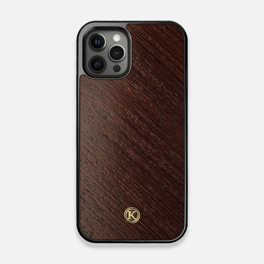 Front view of the Wenge Pure Minimalist Wood iPhone 12/12 Pro Case by Keyway Designs