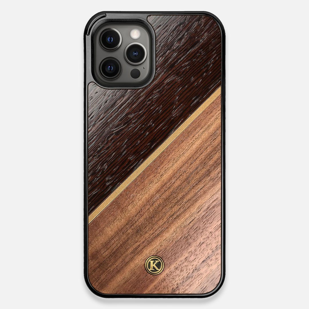 Front view of the Alium Walnut, Gold, and Wenge Elegant Wood iPhone 12 Pro Max Case by Keyway Designs