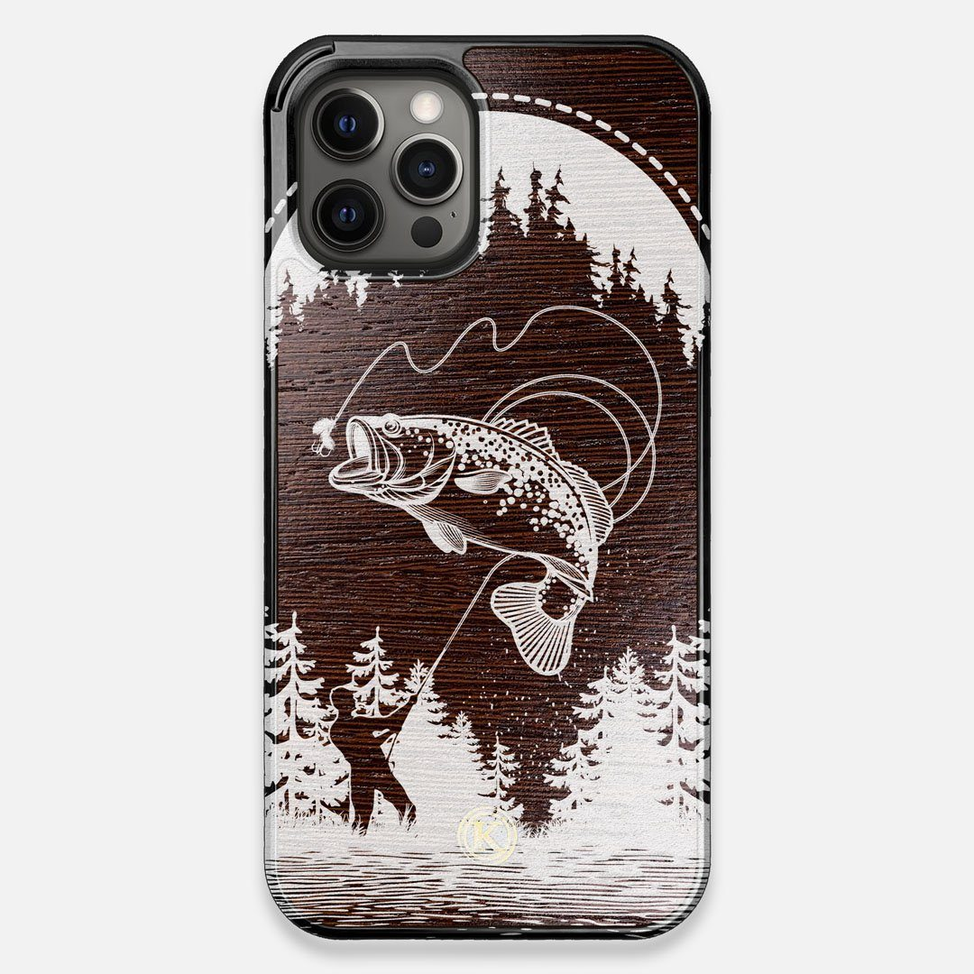 Front view of the high-contrast spotted bass printed Wenge Wood iPhone 12 Pro Max Case by Keyway Designs