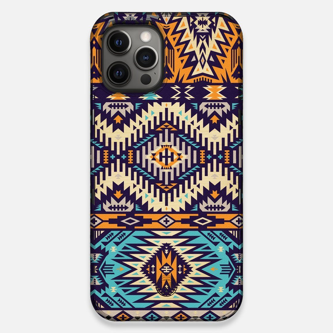 Front view of the vibrant Aztec printed Maple Wood iPhone 12 Pro Max Case by Keyway Designs