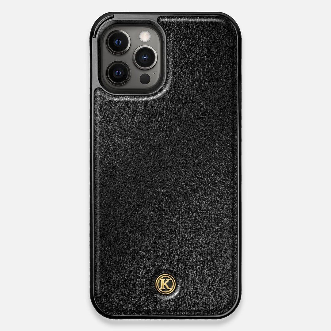 Front view of the Blank Black Leather iPhone 12 Pro Max Case by Keyway Designs