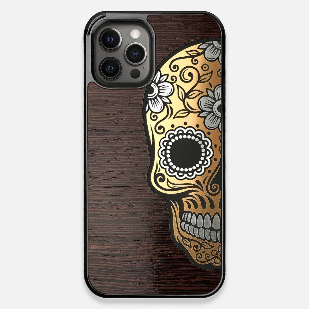 Front view of the Calavera Wood Sugar Skull Wood iPhone 12 Pro Max Case by Keyway Designs