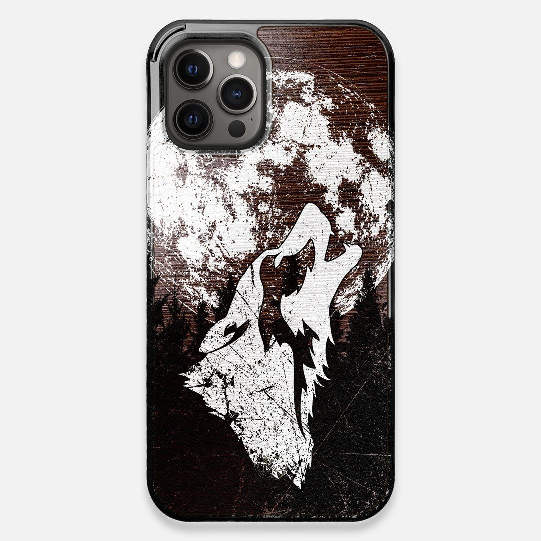 Front view of the high-contrast howling wolf on a full moon printed on a Wenge Wood iPhone 12 Pro Max Case by Keyway Designs