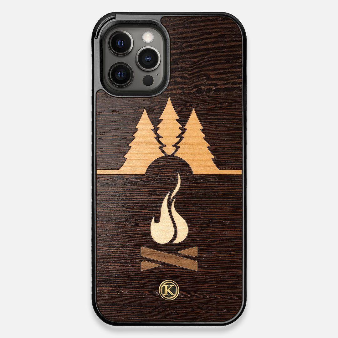 Front view of the Nomad Campsite Wood iPhone 12 Pro Max Case by Keyway Designs