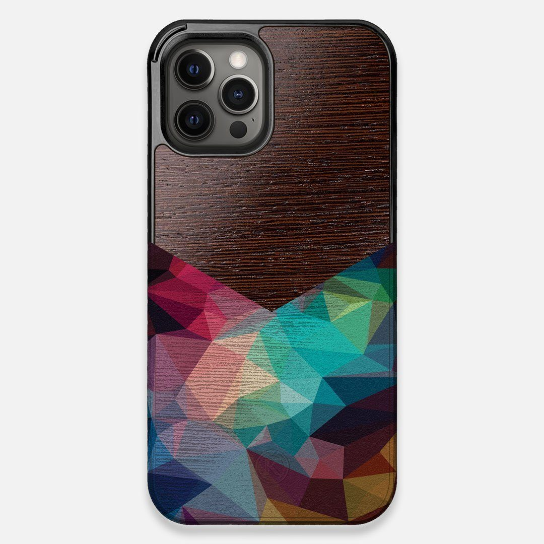 Front view of the vibrant Geometric Gradient printed Wenge Wood iPhone 12 Pro Max Case by Keyway Designs