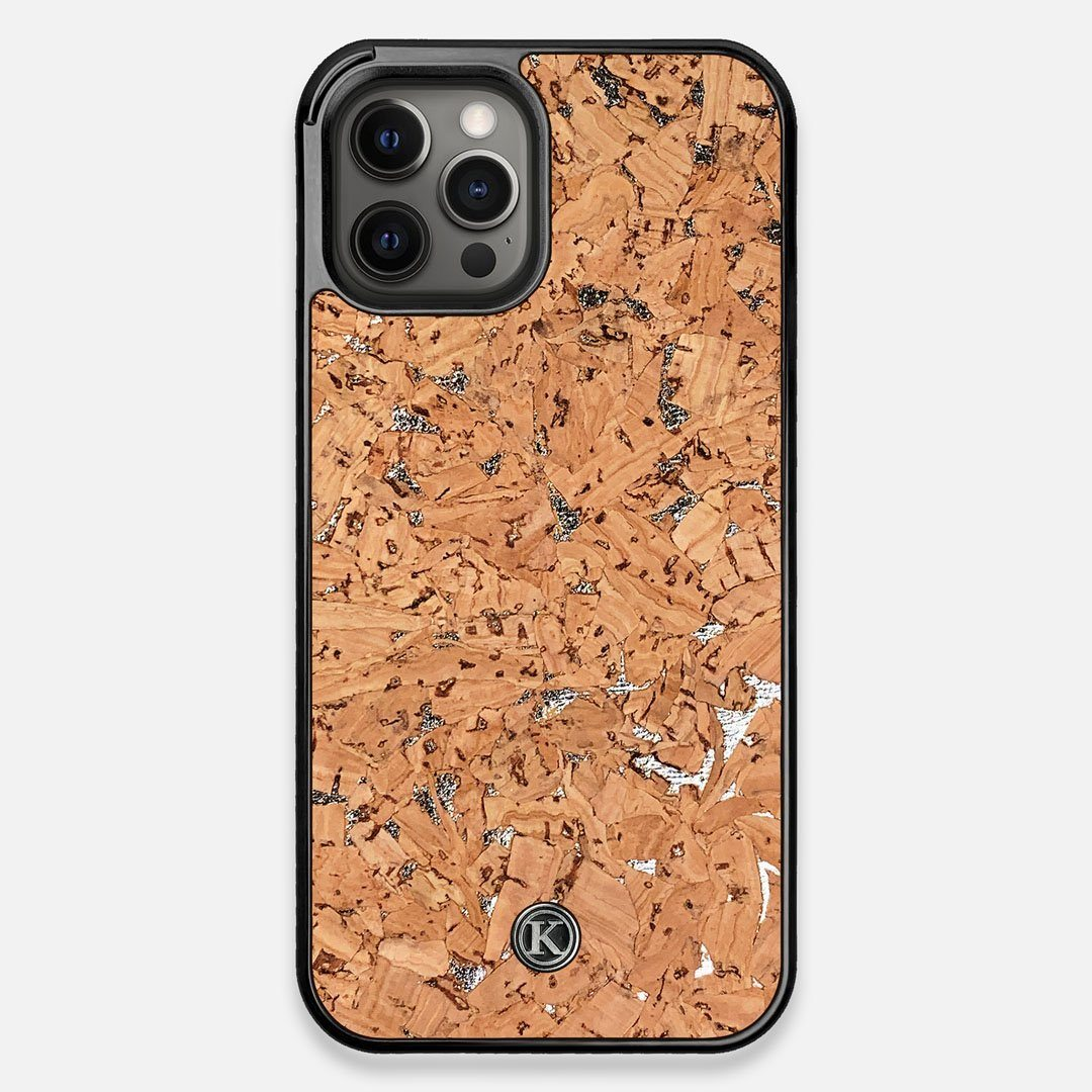 Front view of the silver fleck natural cork iPhone 12 Pro Max Case by Keyway Designs